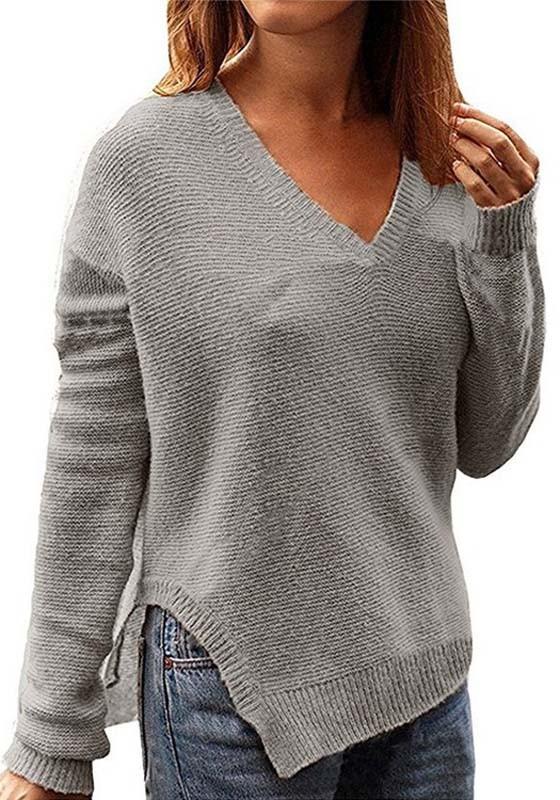abwechslungsreiche neueste Designs konkurrenzfähiger Preis neue sorten Grey Side Slit Oversize V-neck Casual Going out Pullover Sweater
