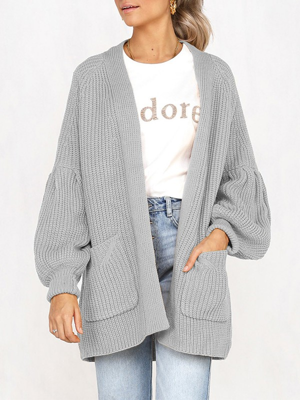 Grey Pockets No Buttons Balloon Sleeve Casual Cardigan Sweater - Cardigans  - Sweaters - Tops ce714d9c7