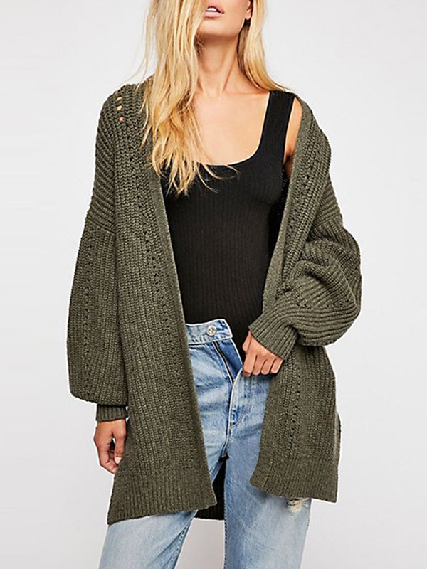 Army Green Cut Out V neck Long Sleeve Casual Cardigan Sweater
