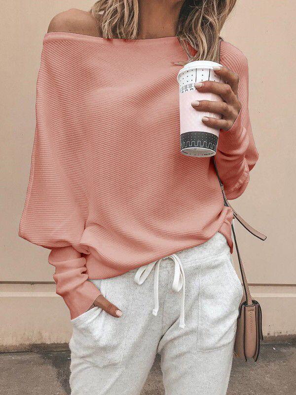 promo code 50933 718fb Rosa One Shoulder Fledermausärmel Oversize Beiläufige Pulli Strickpullover  Damen Mode