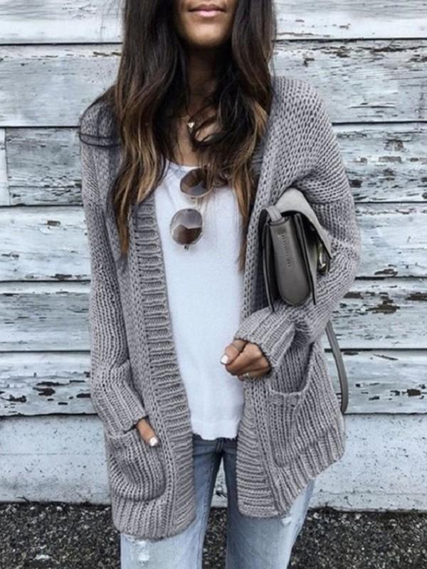 Grau Taschen Oversize Beiläufige Grobe Cardigan Strickjacke Mantel Damen Mode