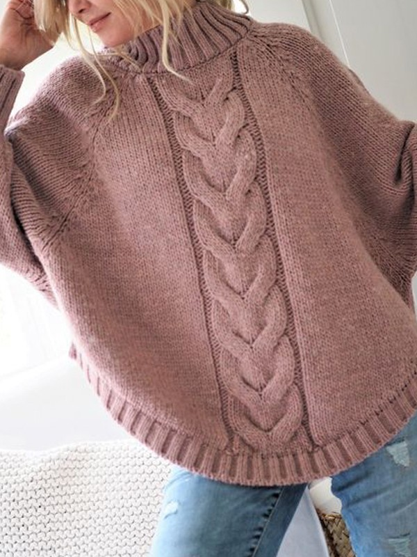 the best attitude c0850 6d234 Rosa Zopfmuster Unregelmäßig Rundhals Fledermausärmel Oversize Grobe  Strickpullover Sweater Damen Mode