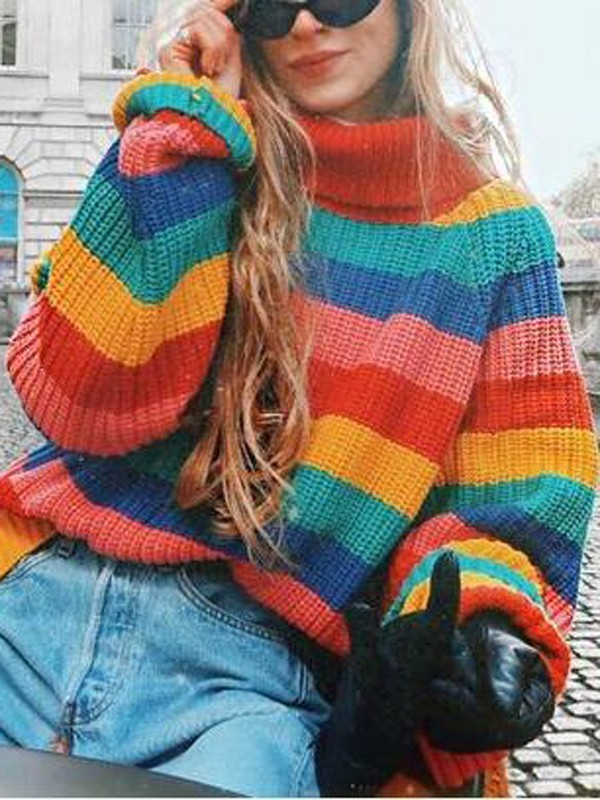popular brand good service discount shop Red-Green Striped Rainbow Draped High Neck Oversized Casual ...