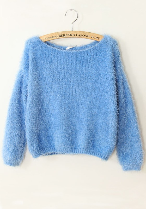 Blue Plain Collarless Long Sleeve Acrylic Sweater - Sweaters - Tops