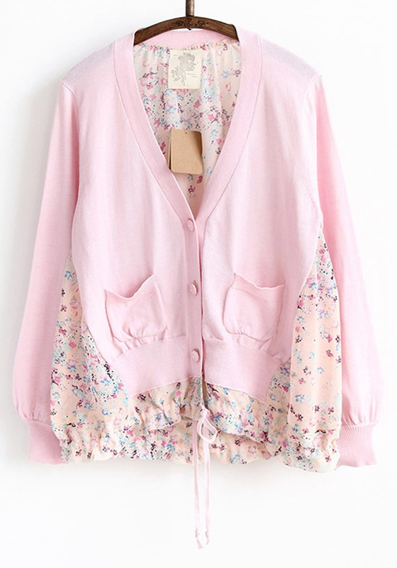 Pink Patchwork Round Neck Long Sleeve Cotton Cardigan - Cardigans ...