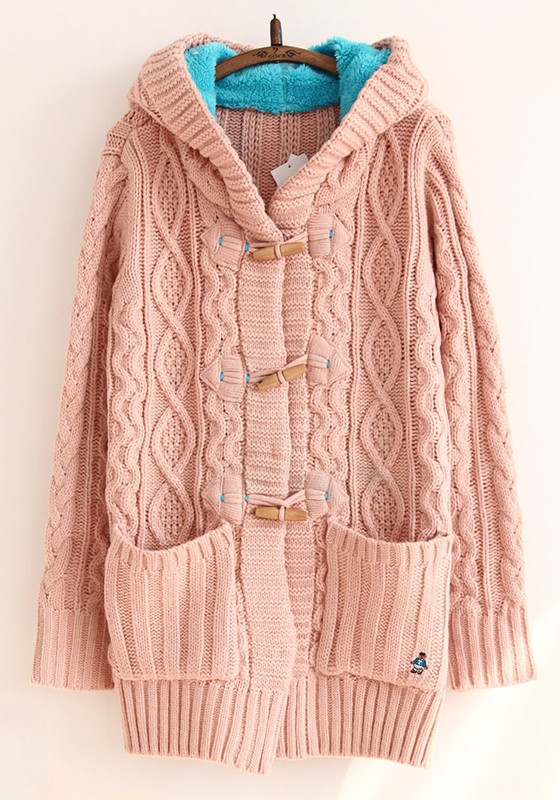 Pink Plain Pockets Cable Hooded Cardigan - Cardigans - Sweaters - Tops