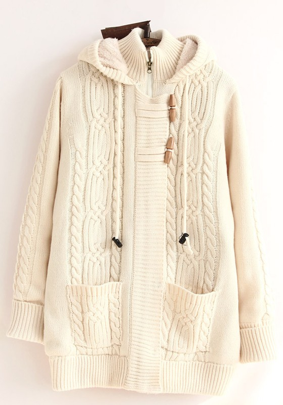 Beige Plain Pockets Cable Hooded Cardigan - Cardigans - Sweaters ...
