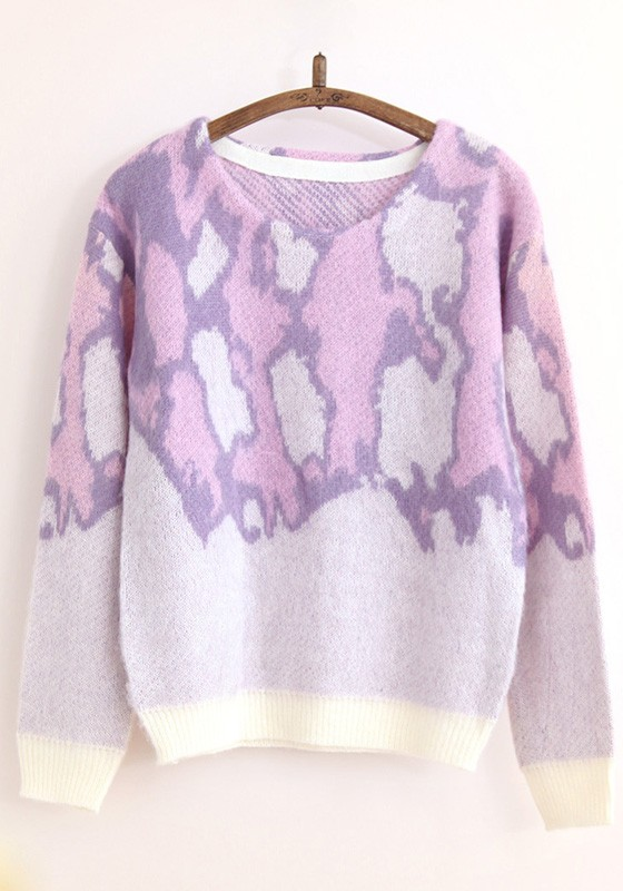 Pink Purple Leopard Print Pull Yarn Pullover Sweater - Pullovers ...