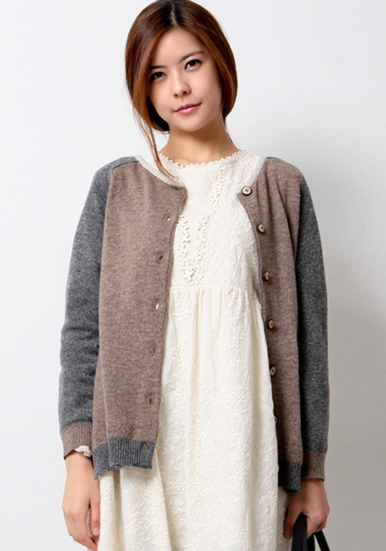 Camel Color Block Pockets Two Wear Cardigan Sweater ...