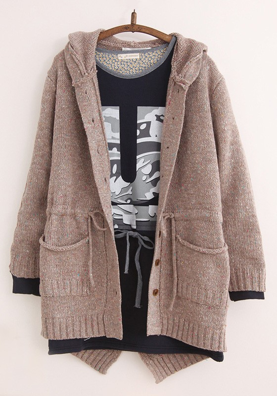 Camel Plain Pockets Drawstring Hooded Cardigan Sweater - Cardigans ...