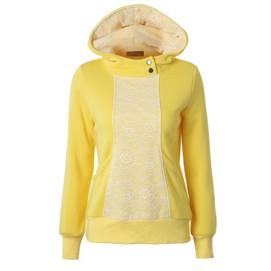 Yellow Patchwork Lace Pockets Hooded Long Sleeve Oversized Casual ...