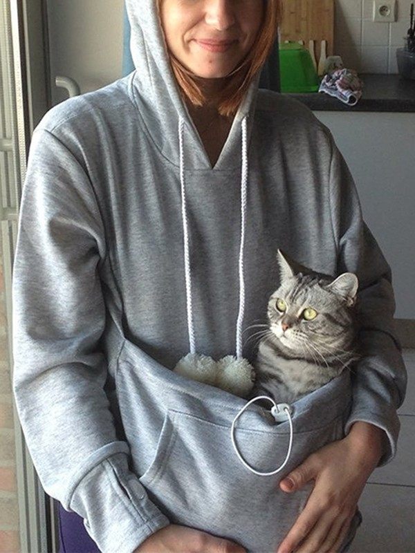 Grey Cat Cuddle Pouch Dog Pet Kangaroo Ears Dog Carrier Hoodie - Hoodie with kangaroo pouch is the perfect cat accessory