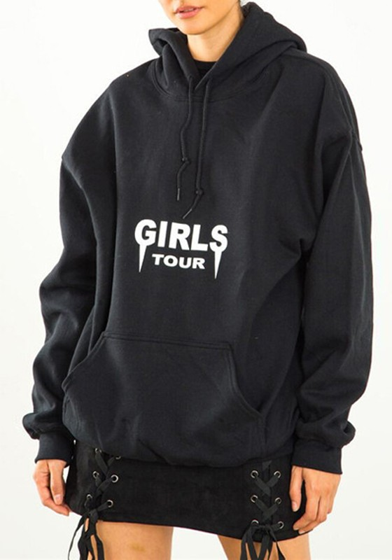 Black Monogram Girls Tour Print Boyfriend Style Oversize Hooded ...