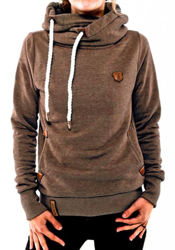 free shipping 2e2ae 07193 Khaki Taschen Mit Kordel Kapuze Langarm Warme Lange Pullover Sweatshirt  Hoodie Damen Sale