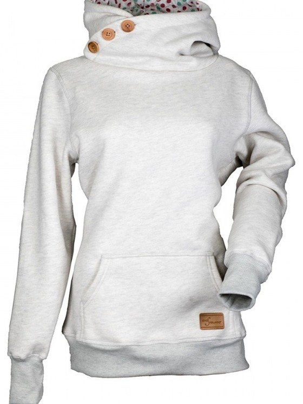 Grau Dicke Kordelzug Cowl Neck Pullover Mit Kapuzen Sweatshirt Hoodie Beiläufige Damen Sale
