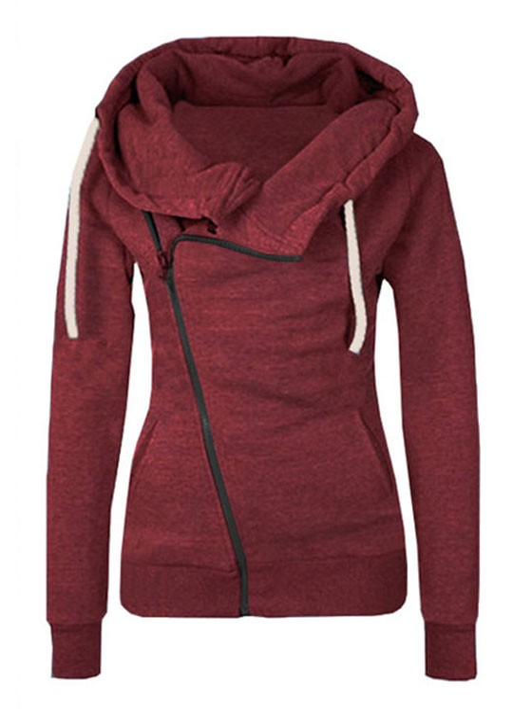 burgundy plain side zipper pockets cowl neck casual hooded. Black Bedroom Furniture Sets. Home Design Ideas