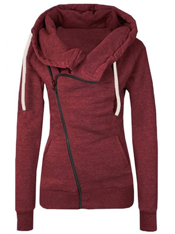 Burgundy Plain Side Zipper Pockets Cowl Neck Casual Hooded ...