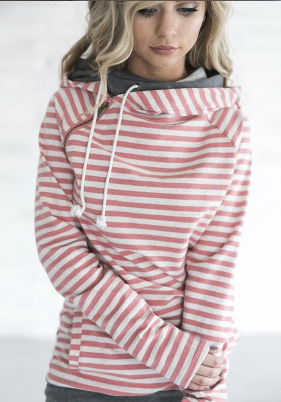 pink striped drawstring zipper double hooded long sleeve casual pullover sweatshirt. Black Bedroom Furniture Sets. Home Design Ideas