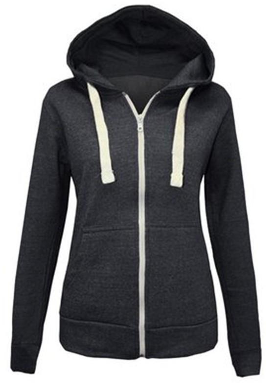 premium selection 6525b 70235 Schwarz Tunnelzug Taschen Reissverschluss Hoodie Lässige Sweatshirt Jacke  mit Kapuzen Damen