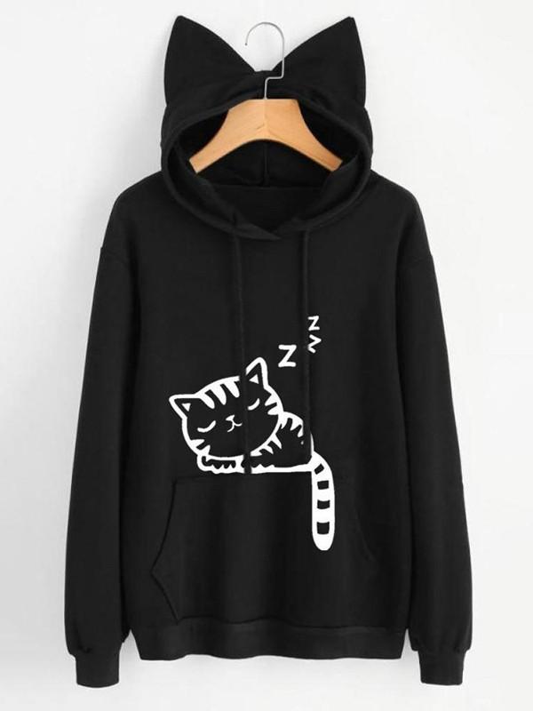 Sweat-shirt chat imprimé oreilles de chat poches à cordon mignon à capuche  noir