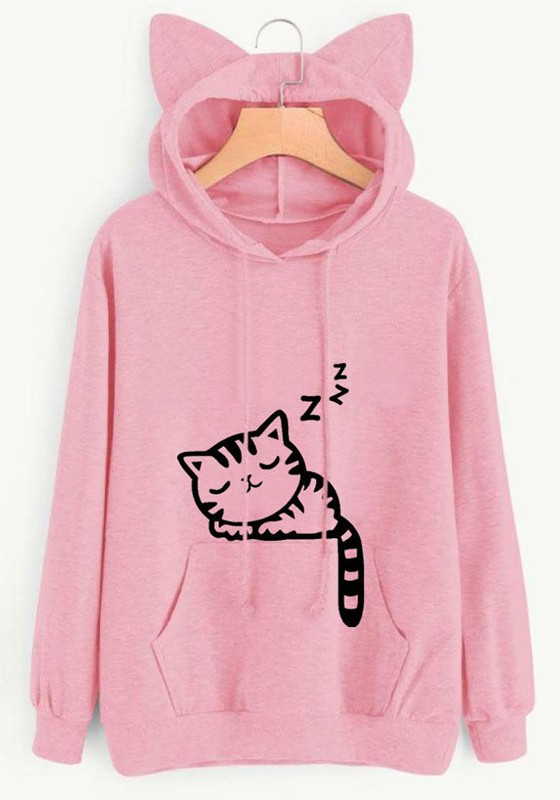 8ed9c280 Pink Cat Print Cat Ears Drawstring Pockets Oversize Casual Fashion Cute  Hooded Sweatshirt