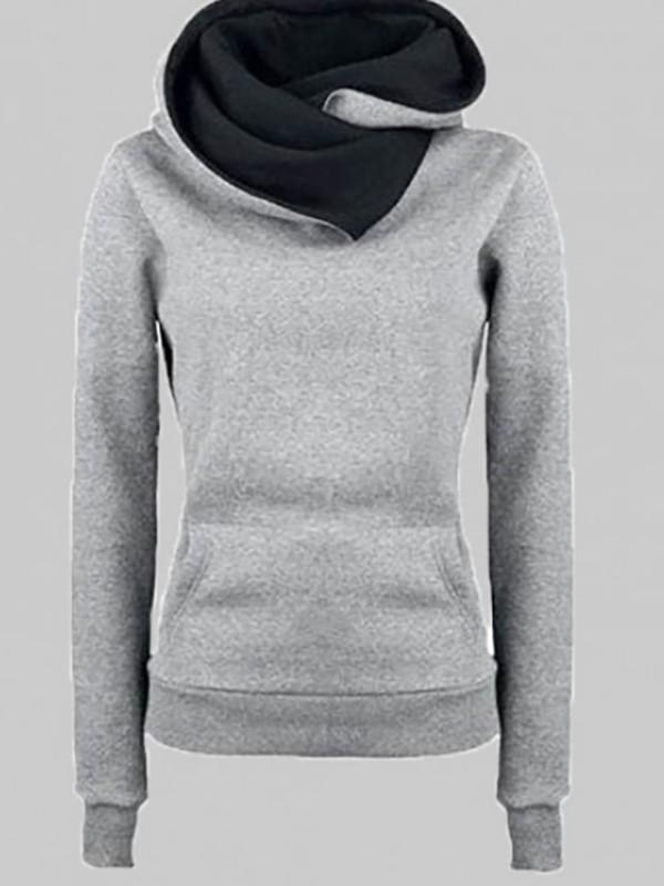 72cc8c4ece15 Grey Pockets Long Sleeve Cowl Neck Hooded Casual Pullover Sweatshirt -  Sweatshirts - Tops