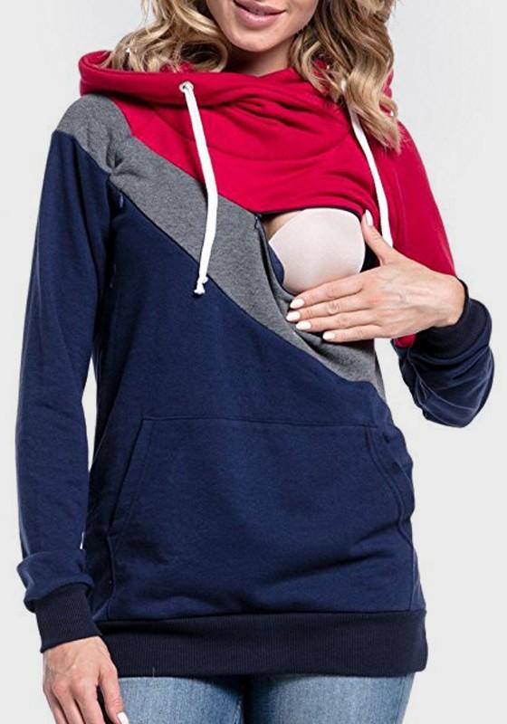 fcd319df Multicolor Patchwork Drawstring Cut Out Hooded Long Sleeve Pullover  Sweatshirt - Hoodies - Sweatshirts - Tops