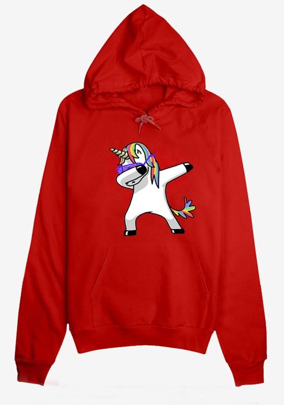 Rot Unicorn Druck Tunnelzug Taschen Beiläufige Hoodie Damen Einhorn Pullover Sweatshirt mit Kapuze