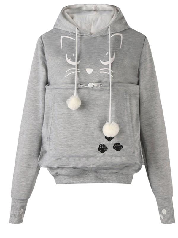 df5e569a3442 Light Grey Cat Print Pockets Drawstring Cat Footprints Dog Carrier Hoodie  Pullover Sweatshirt