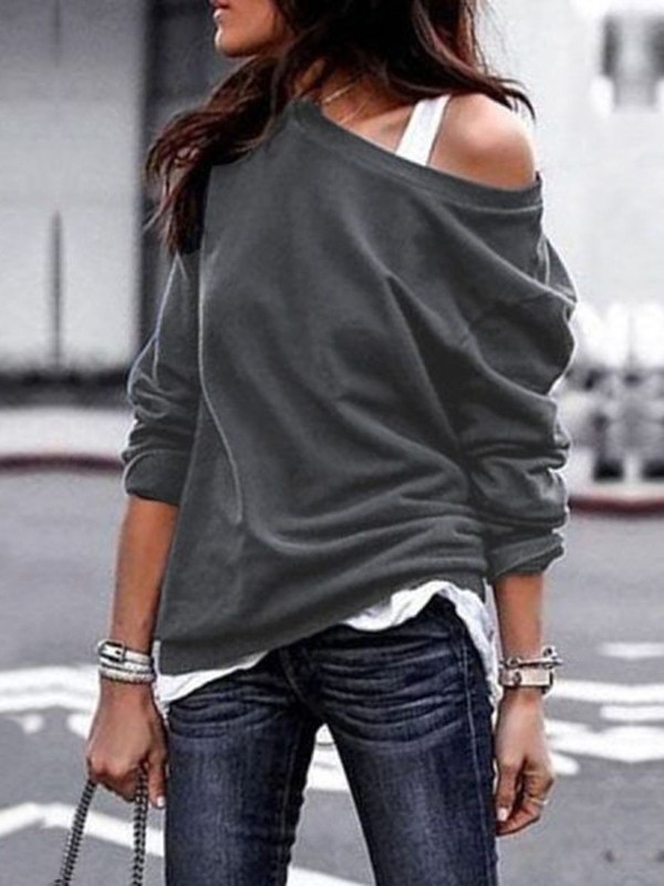 221b8ba8827ea Grey One Off Shoulder Slouchy Long Sleeve Casual Cardigan Sweatshirt -  Sweatshirts - Tops