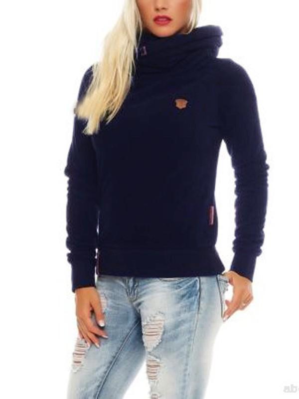 Sweatshirt à capuche col bénitier roulé manches longues décontracté femme naketano pull bleu marine