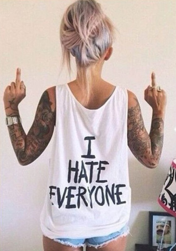 White Monogram I HATE EVERYONE Print Shoulder-Strap Round Neck Loose Cheap  Streetwear Vest - Vests - Tops 83672642be11