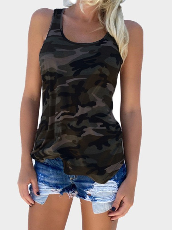 daacec2555ee3 Army Green Camouflage Round Neck Fashion Thin Vest - Vests - Tops