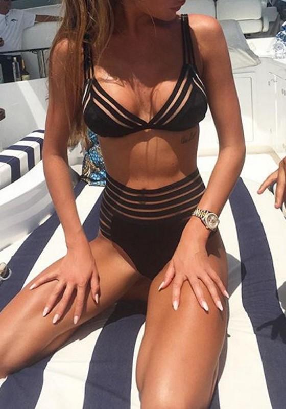 style classique de 2019 nouvelle collection nouveau authentique Maillot de bain mesh 2 pièces bretelle push up taille haute bikini noir  femme