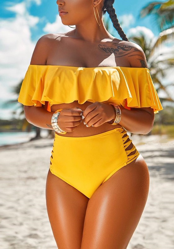 865cd3cfd37 Yellow Ruffle Off Shoulder Lace-up Two Piece High Waisted Beachwear Swimwear  - Happy Hour