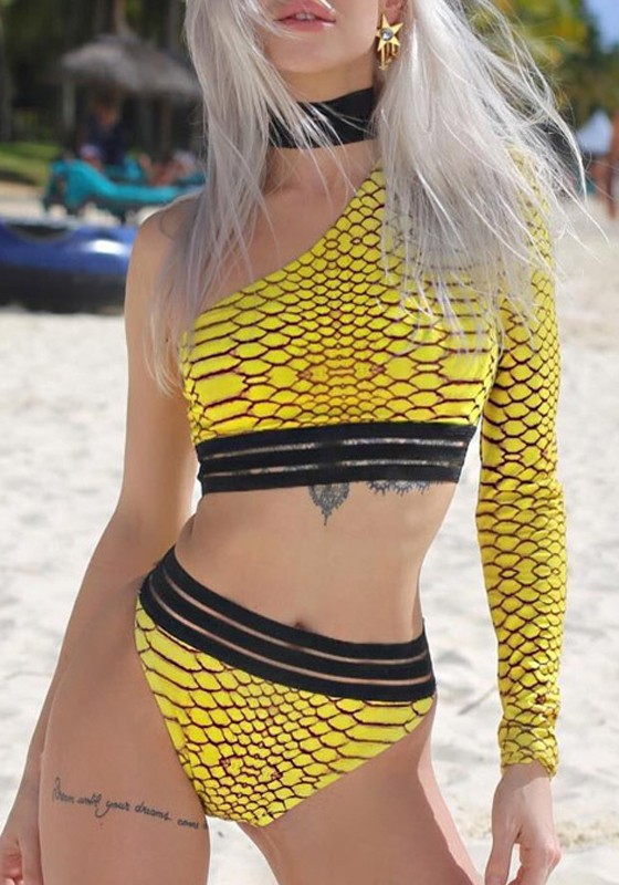 7a88cb1e78c9d Yellow Snake Print Cut Out Asymmetric Shoulder One Piece Beach Party Casual  Swimwear - Swimwear - Tops