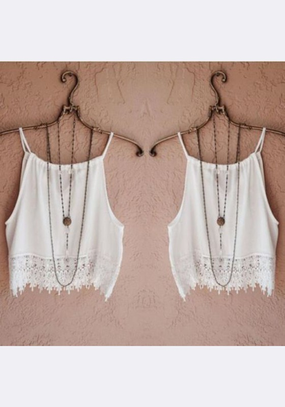 67320e58be584 White Patchwork Lace Spaghetti Strap Casual Going out Vest