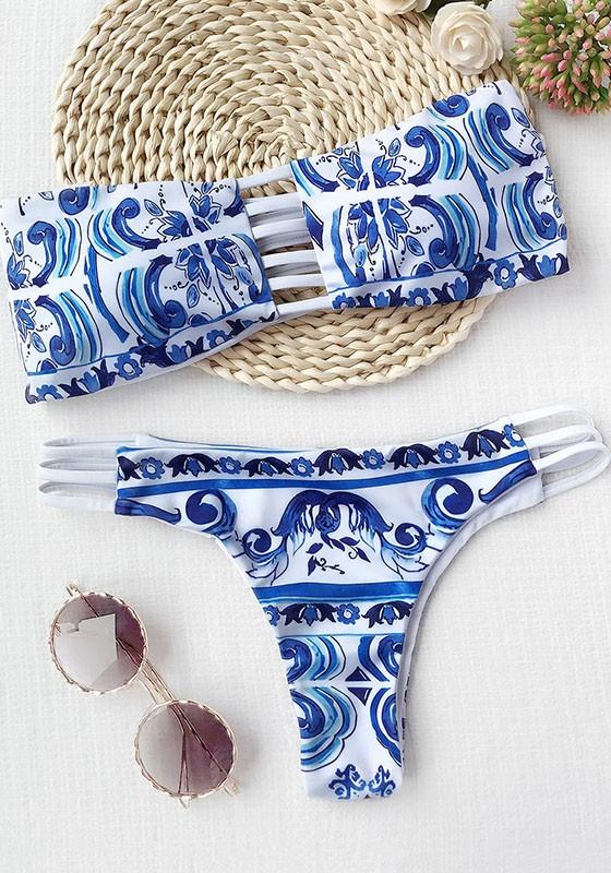 Traje Azul Sola Una Impresión Pieza Baño Fiesta Floral Dulce Moda De N0wnvm8