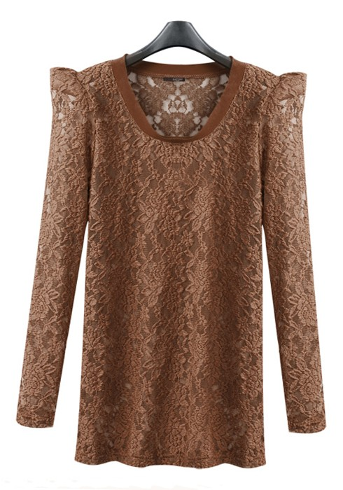 Brown Plain Collarless Puff Long Sleeve Lace T-Shirt - T-Shirts - Tops