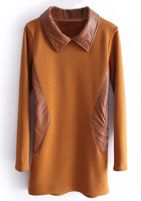 Brown madder pu patchwork lapel thick cotton t shirt t for Thick white cotton t shirt