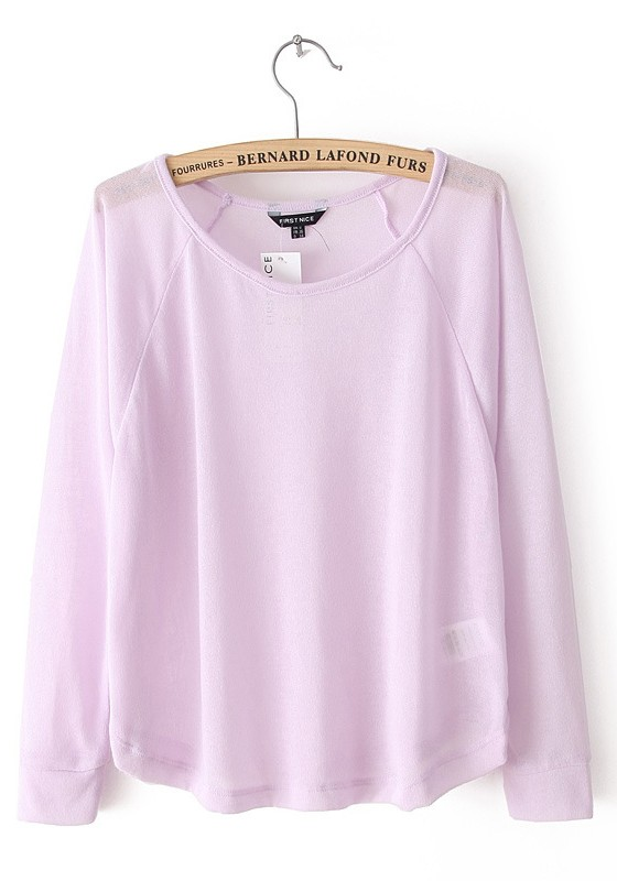 Pink Plain Round Neck Long Sleeve Dacron T-shirt - T-Shirts - Tops