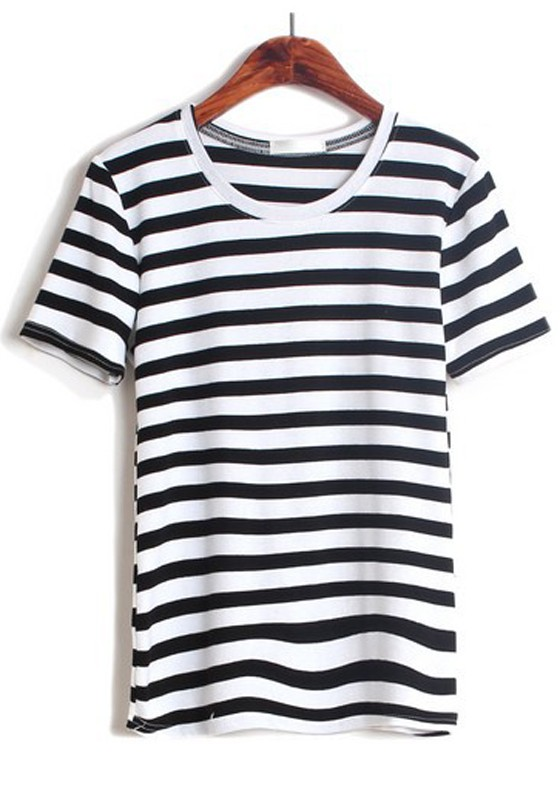 Multicolor Striped Print Short Sleeve Cotton T-Shirt - T-Shirts - Tops