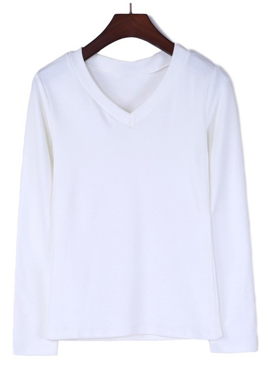 White Plain V-neck Long Sleeve Cotton T-Shirt - T-Shirts - Tops