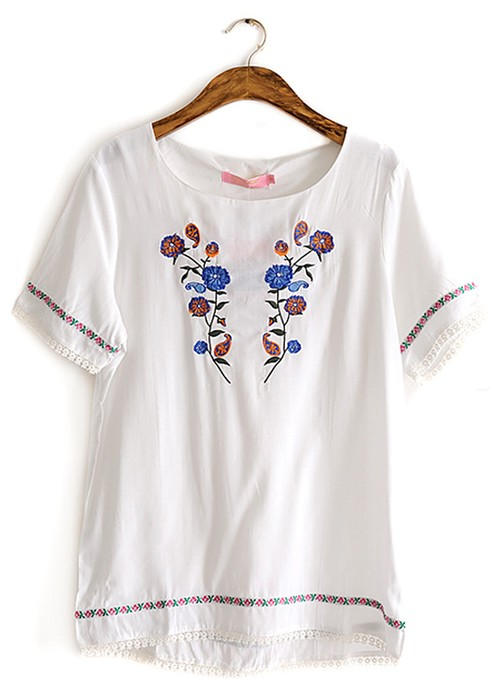 White floral embroidery round neck cotton t shirt t for How to embroider t shirts