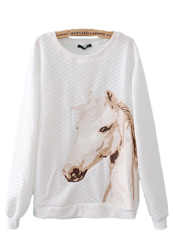 White horse embroidery round neck cotton blend t shirt