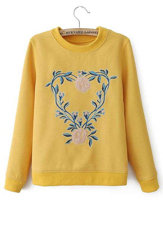 Yellow Flowers Round Neck Straight Synthetic Fiber T-Shirt ...
