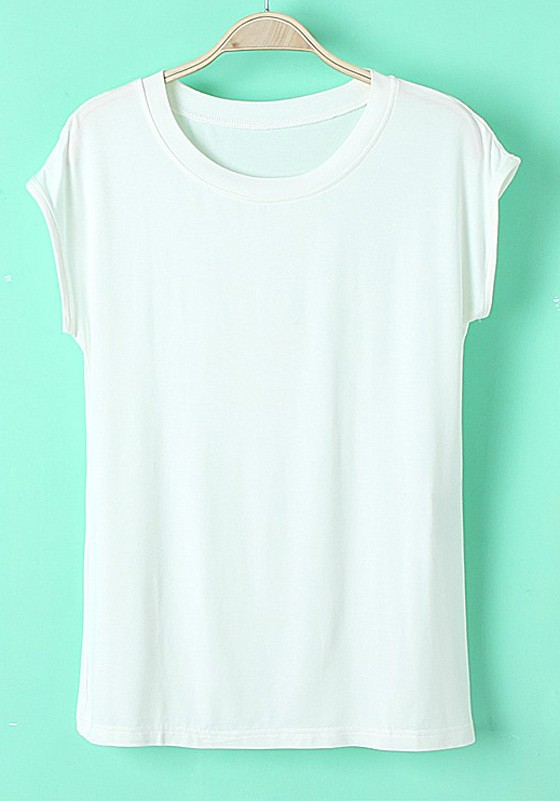 White Plain Round Neck Sleeveless Straight Cotton T-Shirt - T ...