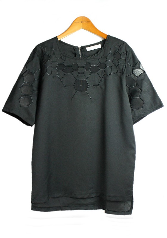 Black hollow out collarless short sleeve loose chiffon t for Collarless short sleeve dress shirt