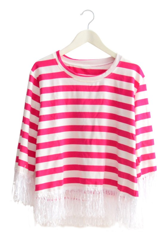 Rose-Carmine Striped Tassel Long Sleeve Cotton T-Shirt - T-Shirts ...