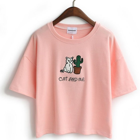Pink Cat Print Round Neck Short Sleeve Cotton Loose Cute T-Shirt ...